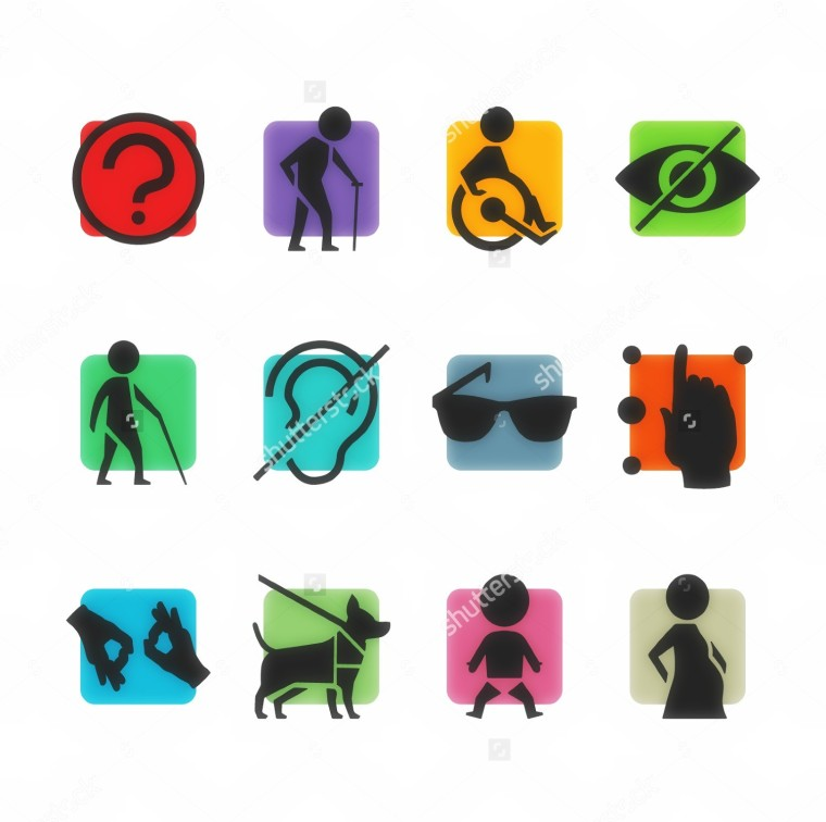 pictures showing a person with a cane, a person using a wheelchair, a hand using Braille, hands signing, a service animal, a baby, a pregnant person, glasses, an ear and an eye.